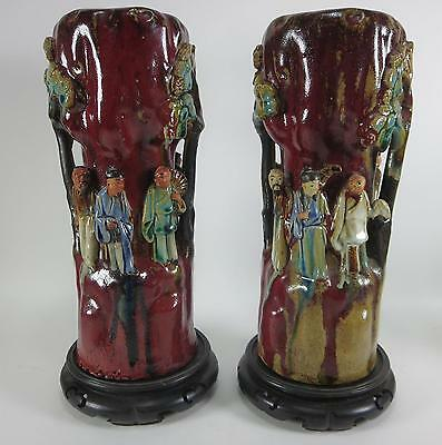 Hard To Find Pair Of 19Th C Japanese Sumida Gawa Figural Pottery Vases