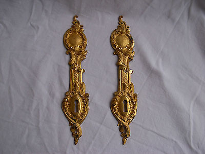 PAIR OF ANTIQUE FRENCH GILT BRONZE ESCUTCHEON,LOUIS XV STYLE,LATE 19th CENTURY.