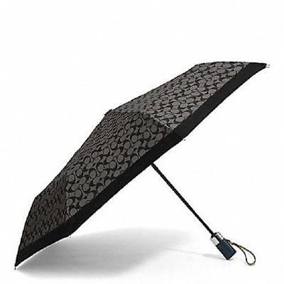 New~COACH~Black~SIGNATURE~Automatic Open~Folding UMBRELLA~#63364~FREE SHIPPING
