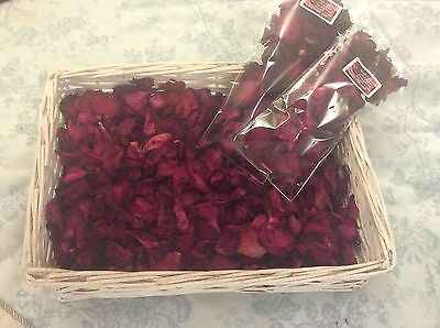Dried red rose petals wedding aisle confetti celebration table centres 50g bag