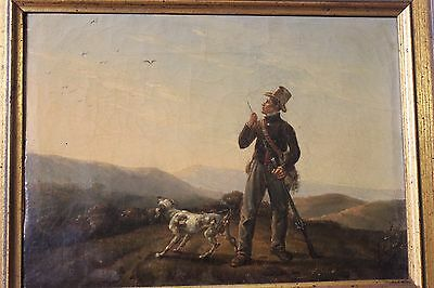 19Th Century Original Art Sportsman And A Pointer Oil On Canvas