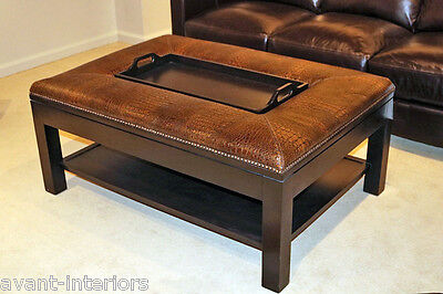 New Huge Gator Leather Ottoman English Style Serving Tray Coffee Table
