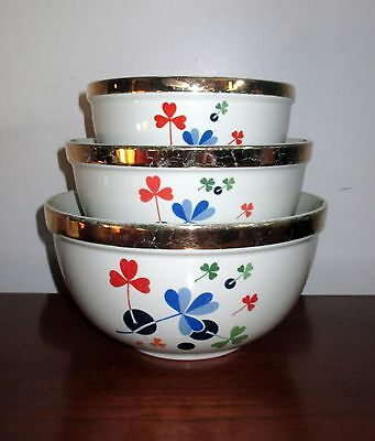 Hall China Golden Clover 3 Stacking Mixing Bowl Set  Eva Zeisel Style