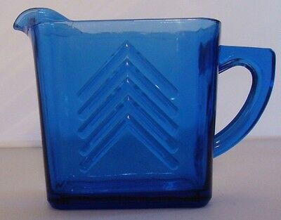 "Hazel Atlas CHEVRON Cobalt Blue Depression Glass 12oz Creamer 4.25"" Pitcher"