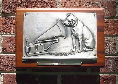 RCA Nipper Walnut Plaque Dealer Award - Masters Voice