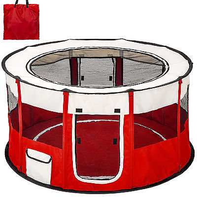 Foldable cage for dog or cat puppies, and small dogs, red color