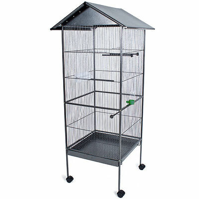 Cage XXL for parrots or birds, metal, with wheels for easy movement
