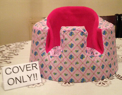 """handmade rubber seat cover """"bumbo"""" (Pink/flower/dark pink fleece) COVER ONLY"""