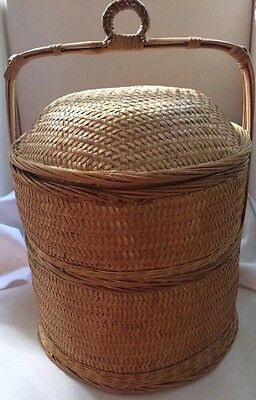 Vintage 2 Tier Woven Stacking CHINESE WEDDING BASKET, Very Good Condition
