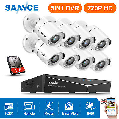 SANNCE 8 White Bullet 720P Camera 8CH 1080N 5IN1 DVR 1500TVL Security System 1TB