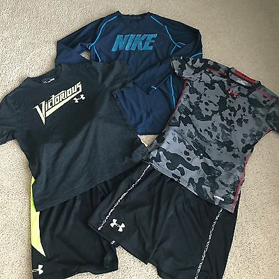 Lot of 5 Under Armour Boys Size YL Athletic Tops and Shorts