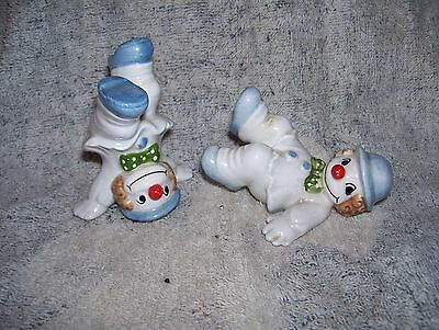 2 Vintage Fitz & Floyd Clown Figurines Hand Painted Japan Late 1970's Excellent