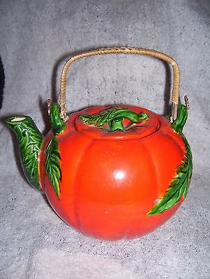 Vintage Maruhon Ware Tomato Pumpkin Teapot Wicker Handle Japan Great Condition