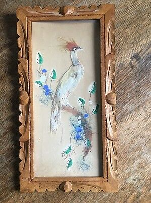 Vintage Mexican Feathercraft Folk Art Carved Wooden Frames Pictures