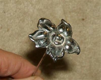 Antique Hat Pin - Large Silver Flower Head