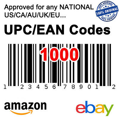 1000 UPC EAN Code Numbers Barcodes Bar Code GS1 Approve for eBay Amazon AU US EU