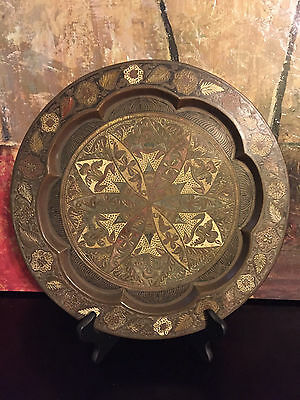 """Antique South East Asian Bronze Frog Leaves Hand Carved Painted Tray Platter 13"""""""