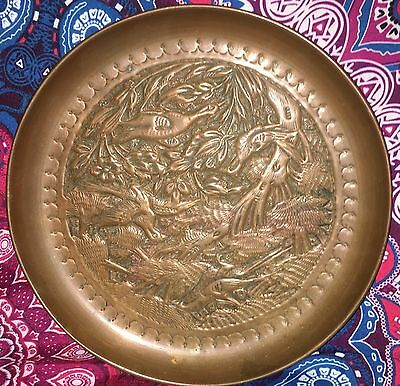 Estate Collectable ~ Copper Birds Display Wall Plate ~ Vintage