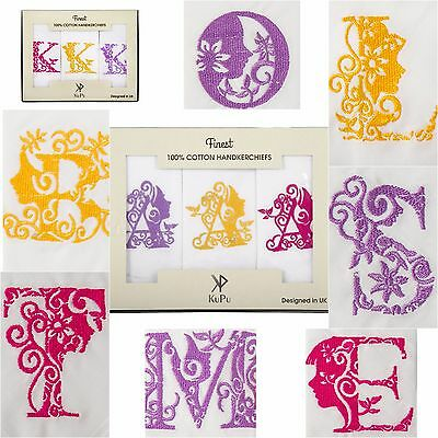 Initial Monogram Embroidered Handkerchief Hankies Hanky 100% COTTON Giftable Box