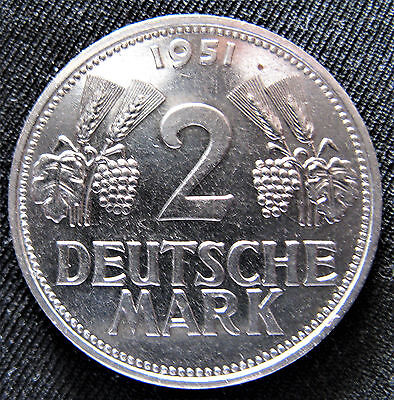 Only 1 Year Minted! Low Mintage 1951D 2 Mark German Republic Germany Nickle Coin
