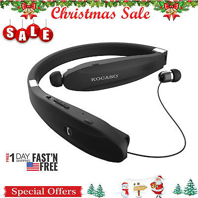 BLACK Retract Stereo Sport Headset Wireless Bluetooth Headphone Earbud Foldable