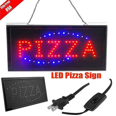 "Pizza Pie Shop By the slice Open Store Animated LED Window Sign 19x10"" Lighted V"