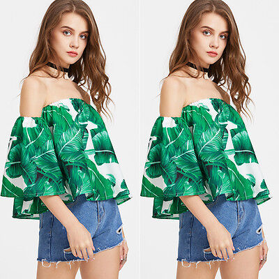 Fashion Women New Off The Shoulder Strapless Tops Long Sleeve Blouse Tee Shirt