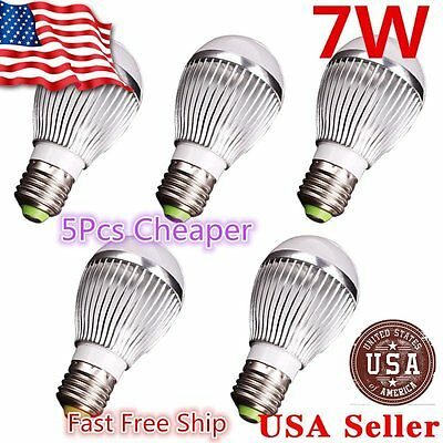 5x Super Bright High Power 7W 12V E27 Home LED Bulb RV Lights- Cool White E26 EK
