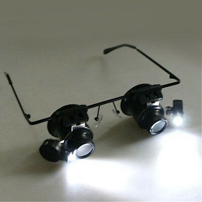 20x Magnifying Eye Magnifier Glasses Loupe Lens Jeweler Watch Repair LED Light W
