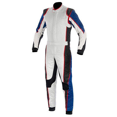 Go Kart Cordura Suit-White-Blue-Black with red piping - New Year Offer