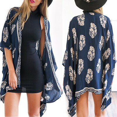 AU Womens Leaves Print Kimono Cardigan Cover Up Summer Beach Tops Blouse Shawl