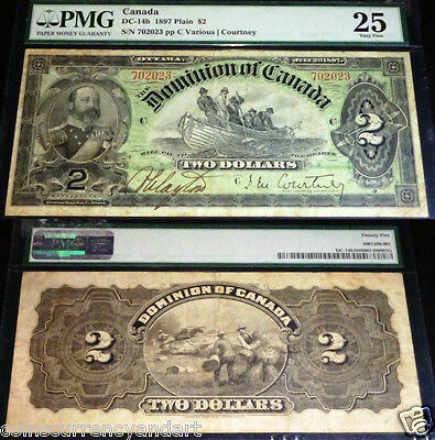 PMG 25  DC-14b  DOMINION OF CANADA 1897  $2 - BEAUTIFUL BANKNOTE