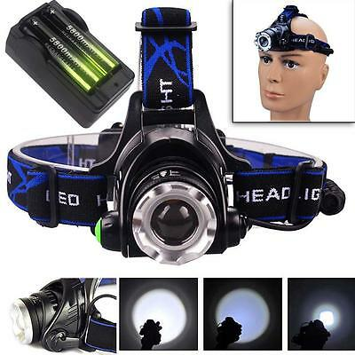12000LM CREE T6 LED Zoom Headlamp Head Torch Headlight+18650 Battery+Charger BT