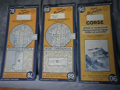 3 Vintage Foreign City (French) Map & Advertising Lot: 1960's Michelin Tires HTF