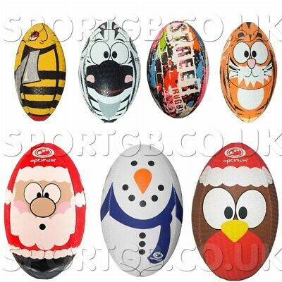 Rugby Balls - Optimum Monkey Zebra Bee Tiger Shark Cow Emoji Christmas Ball