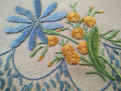 Blue Daisy & Yellow flowers ~ Heavily Hand embroidered Doily