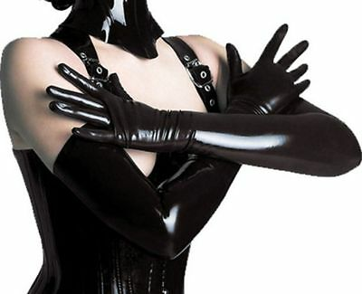 "# AUB ONE SIZE Sexy Black Shiny Wetlook Long Gloves ""Vinyl (PVC) "" for Costume"