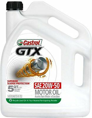 Castrol 03095 GTX 20W50 Conventional Motor Oil 5 Quart, New, Free Shipping