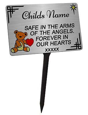Personalised Child or Baby Memorial Plaque Brushed Silver & Stake. Weatherproof.