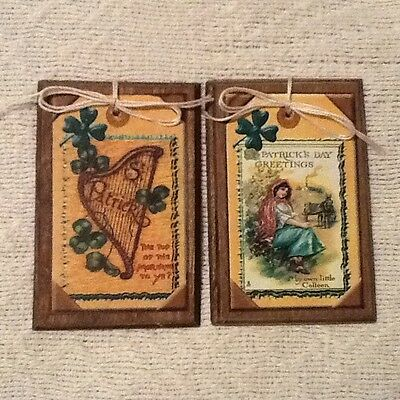 5 St. Patrick's Day Wooden HANDCRAFTED Ornaments, Hang Tags, Gift Tags SET10