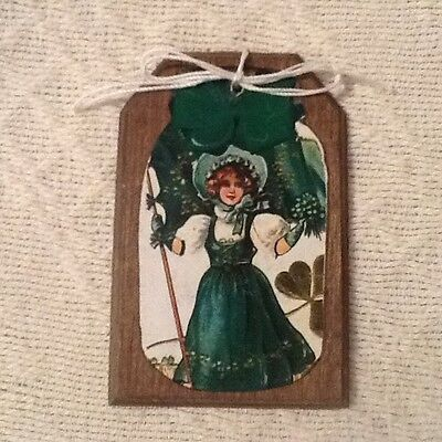 5 St. Patrick's Day WOODEN Handcrafted Ornaments.Hang Tags,Gift Tags SET3gs