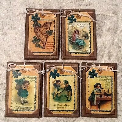 5 St. Patrick's Day WOODEN Handcrafted Ornaments.Hang Tags,Gift Tags SETow