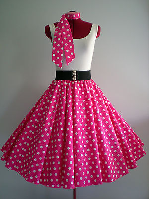 "ROCK N ROLL/ROCKABILLY ""Spots"" SKIRT & SCARF L-XL Pink/White."