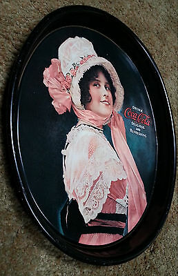 Vintage COCA COLA Metal Oval Serving Tray 1914 Betty Girl 1972 Repro.   VG Cond