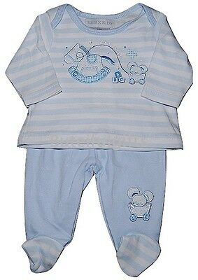 Premature Baby Boy's Sky Blue/White Two Piece Cotton Set Up to 5lb Up to 7.5lb