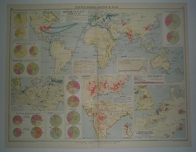 The World's Commodities Textile Fibres COTTON and FLAX Vintage 1928 Map