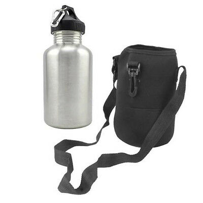 2L Stainless Steel Sports  Water Bottle with Snap Hook + Protector Bag