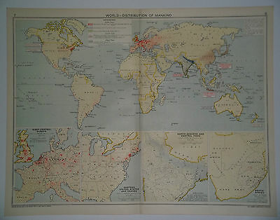 The World Distribution Of Mankind Vintage 1928 Map
