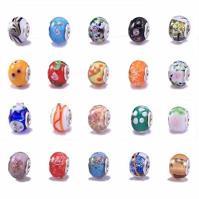 20 Mixed Murano Lampwork Glass Beads - fits Pandor Style Charm Bracelets (Core