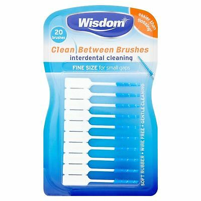 Wisdom Clean Between Brushes 20 Blue Fine Interdental Brushes  1 2 3 6 12 Packs